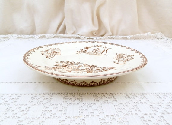 Antique French Ironware / Terre de Fer Cake Stand by Clairefontaine 1880 Japanned Pattern, Footed Serving Plate, Fruit Bowl, Tazza, Comport