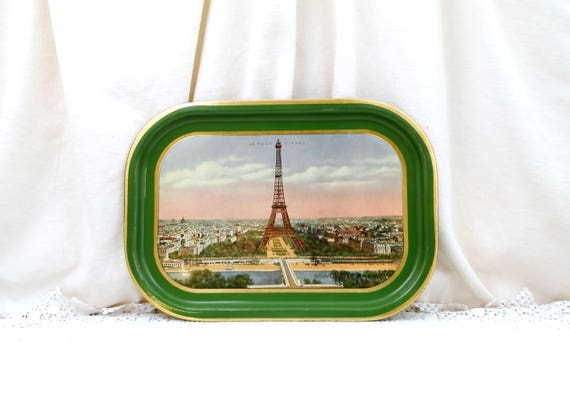 Vintage 1930s Metal Serving Tray Souvenir of Paris with Eiffel Tower View of the River Seine and the City Green and Gold Edge