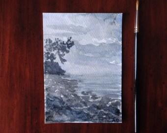 Watercolour Postcard, Original Watercolour Landscape Painting, Coastal Painting, Impression, Sketch, Sea Painting, Sweden, Coast, Abstract