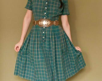 1950s Vintage Betty Barclay Cotton Green Plaid Shirtwaist Dress w/ Short Sleeves AS IS XS 25 Waist
