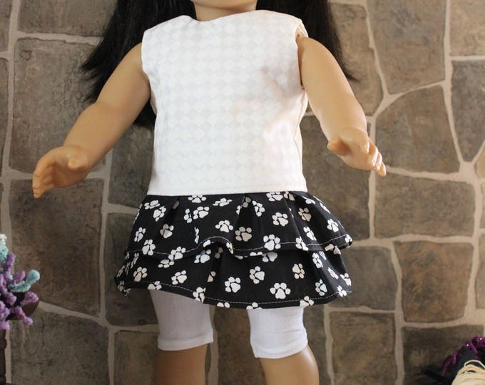 Handmade for the dolls like American Girl and other 18 inch dolls. Ready for School, Puppy Print Skirt,Top,Leggings and Shoes. FREE SHIPPING