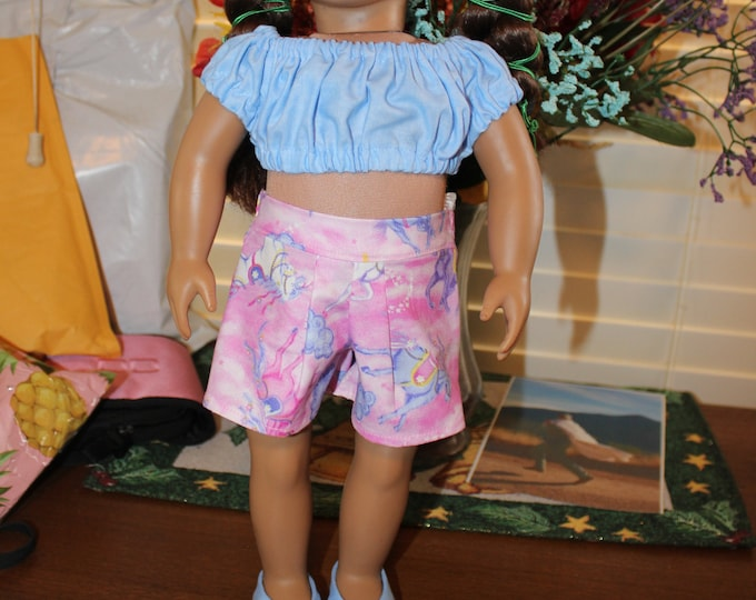 Ready for Spring, Light Blue Crop Top ,Pink/Blue Print Color Shorts , Matching Shoes made for the AG and other 18 inch dolls FREE SHIPPING