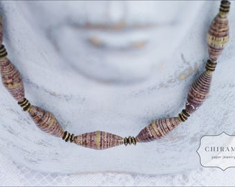Chocholate Drops - Recycled Paper Necklace