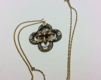 Vintage Enameled forget me Not enamel Pendent  In Gold Filled with chain