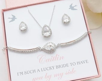 SALE Personalized Bridesmaid Gift, Bridesmaid Jewelry Set, Bridesmaid Earrings Bracelet Necklace Set, Wedding Jewelry Set, Mother of Bride G
