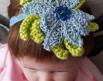 Blue and green flower headband-flower hairband-crochet headband-crochet flower headband