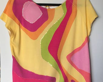 Susan Bristol Spring Bright Colored Sweater Blouse
