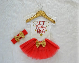 Let Freedom Ring 4th Of July Independence Day Outfit Tutu and HeadbandBaby girl red gold star glitter bodysuit Fourth of July 336