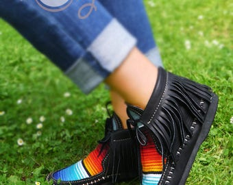 Black Leather Serape Moccasins, Womens Moccasins, Black Serape Boots, Black Leather Boots, Mens Moccasins, Black Womens Boots, Hippie Boots