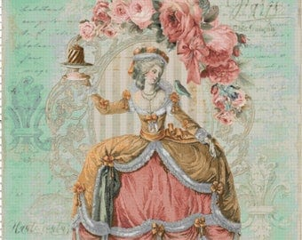 Marie Antoinette Let Them Eat Cake Shabby Chic Cross Stitch Pattern