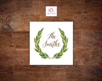 calling cards gift tags green watercolor design
