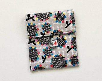 Black and White Pouch, Floral Pouch, Accessory Bag, Button Pouch, Bag Organizer, Cell Phone Case, Camera Case