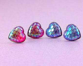 Heart Scale Earrings • Mermaid Scale Earrings • Dragon Scale Earrings • Faux Scale Earrings •  Hypoallergenic Earrings • Stud earrings