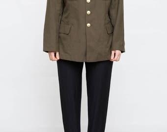 Vintage Men Army Jacket, Small Medium Size Chinese Jacket, Khaki Men Jacket, Button Down Jacket, Army Green Button Up Jacket
