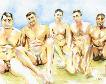 "PRINT Original Art Work Watercolor Painting Gay Male Nude ""Beach party 3"""