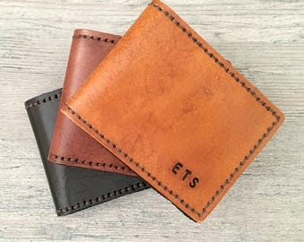Deluxe Leather BiFold Wallet. Mens Wallet, personalized 3rd anniversary gift for him, Fathers Day Gift, mens leather wallet, name, initials