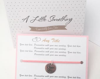 Customisable Personalised Friendship Charm Wish Bracelet Gift Meaning Quote Keepsake Your Words Design Bespoke Custom Made to Order