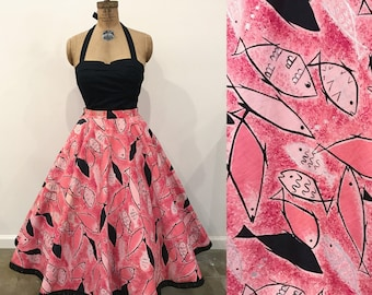 Amazing 1950s Pink Atomic Fish Novelty Print Circle Skirt
