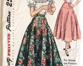 Skirt Sewing Pattern- Vintage 1950s Womens Drop Waist Circle Skirt Simplicity 2572 Waist 26 Hip 35 UNCUT