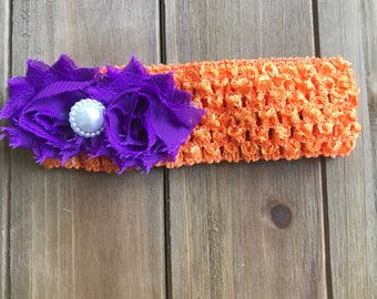 Orange Crochet Headband with Purple Shabby Flowers