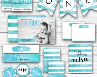 Watercolor Birthday Party Kit, Blue Turquoise Watercolors, Boy's First Birthday, 1st Birthday Decorations Party Printables - Printable