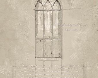 8X10 Digital File, Brigham City Utah Temple Window Detail, Sepia Sketch, INSTANT DOWNLOAD