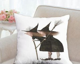 Two Halloween Witch's Designer Pillow