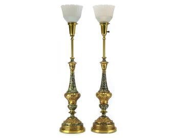 TALL PAIR Vintage Gold Green White Stiffel Lamps - Torchiere Mid Century Brass Lighting - Hollywood Regency Buffet Accent Light Table Lamp