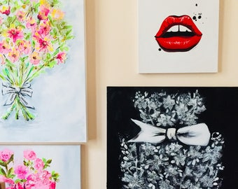 Red Lips Original Painting on Canvas,  Fashion Illustration by Lana Moes, Dior Glow Lips Inspired Wall Art, Ready to Hang, Valentines Day