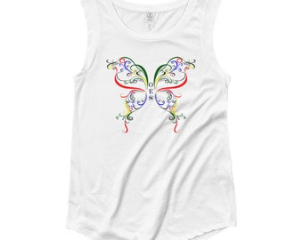 OES (Order of the Eastern Star) butterfly Ladies' Cap Sleeve T-Shirt