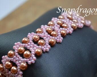 Pink double wave bracelet 8.5'' long