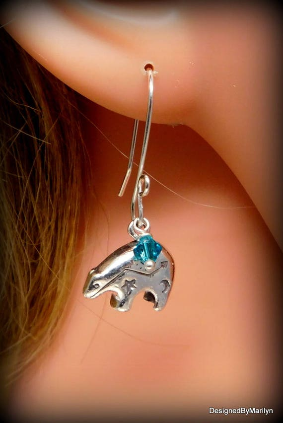 Sterling silver Zuni bear earrings,  southwestern jewelry, bear totem, Zuni bear, pow wow, spirit of the bear