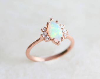 opal engagement ring with diamonds solid gold ethiopian fire opal ring opal promise ring - Opal Wedding Ring
