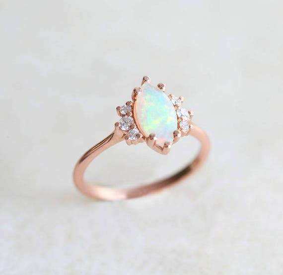 Opal Engagement Ring with Diamonds Solid Gold Ethiopian Fire