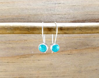 Dainty turquoise earrings, sterling silver kidney earwire, small blue earrings, turquoise jewelry, 6mm stone, december birthstone jewelry