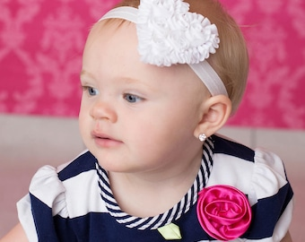 white heart headband rosette headband baby headband girls headband toddler headband heart headband made to order MORE colors