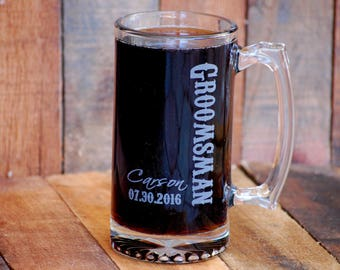 Personalized Beer Stein Groomsman Gift Mens Wedding Best Man Monogram Mug
