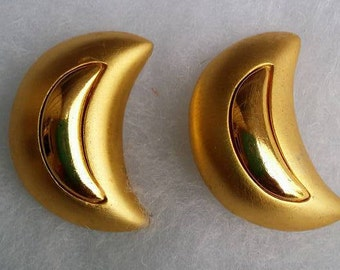 vintage large gold tone Moons clip on earrings