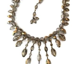1950s Glamour Cut Crystal Fringe Necklace, Bridal Jewelry Cut Crystal Necklace, estate jewelry, bib necklaces, chandelier necklace