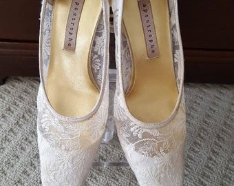 Lace Shoes Heels Wedding Ecru Cream Color Winter White Heel