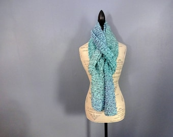 Hand Knit Women's Extra Long Light Blue & Turquoise Scarf, Soft Fluffy Chunky Knit, Warm Scarf, Hand Made Gift