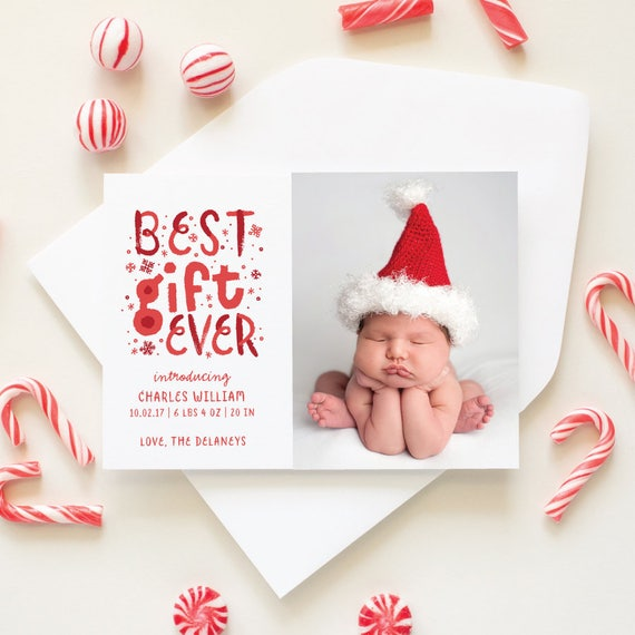 Birth Announcement Christmas Card, Winter Baby Announcement Photo Cards, Funny Christmas Cards, Newborn Photo Holiday Card - Best Gift Ever