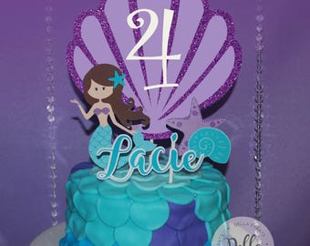 Mermaid Cake Topper, The Little Mermaid, Mermaid, Mermaid Birthday, Mermaid Party, Mermaid Cake Topper, Ariel Cupcake, Decoration