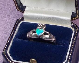Blue Green Faux Opal Heart Irish Claddagh Size 8 Ring  2869