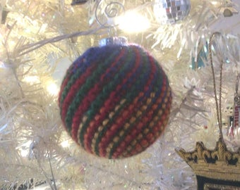 Hand knit holiday ornament