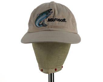 Vintage MICROSOFT Trout Strap-Back Hat // Dad Hat // Baseball Cap // Windows // Computers // Fishing // Angler // Retro // 90s // Throwback