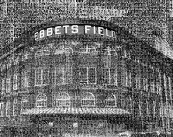 "Brooklyn Dodgers Ebbets Field Player Mosaic Black & White Print. Made from over 50 Greatest Players. 16x20"" Handmade by the Mosaic Guy"