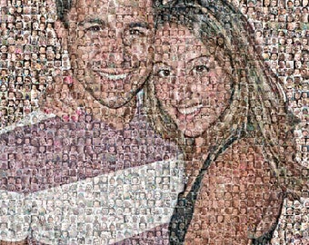 "Custom Photo Mosaic Print Art Using 50-200 of your Personal Photos- 16x20"" and up-OOAK"