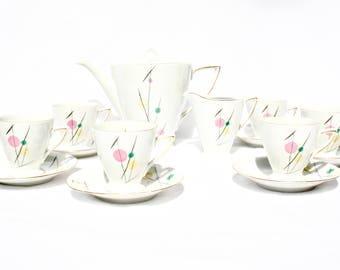 Mid Century Coffee Set 8 piece Porcelain Favolina China 1950s Home Decor