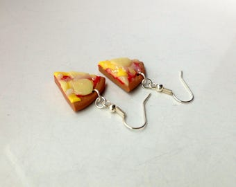 Cheesy Pizza Earrings Polymer Clay Miniature Food Jewelry Pizza Slice Food Gift for Her